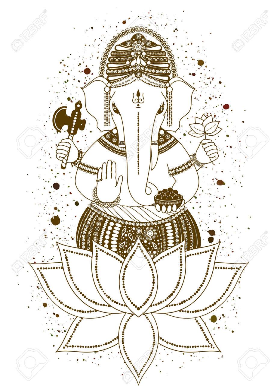 Ganesha, O Ganapati, Deidad India En El Hindú, Mehndi En Flor De ...