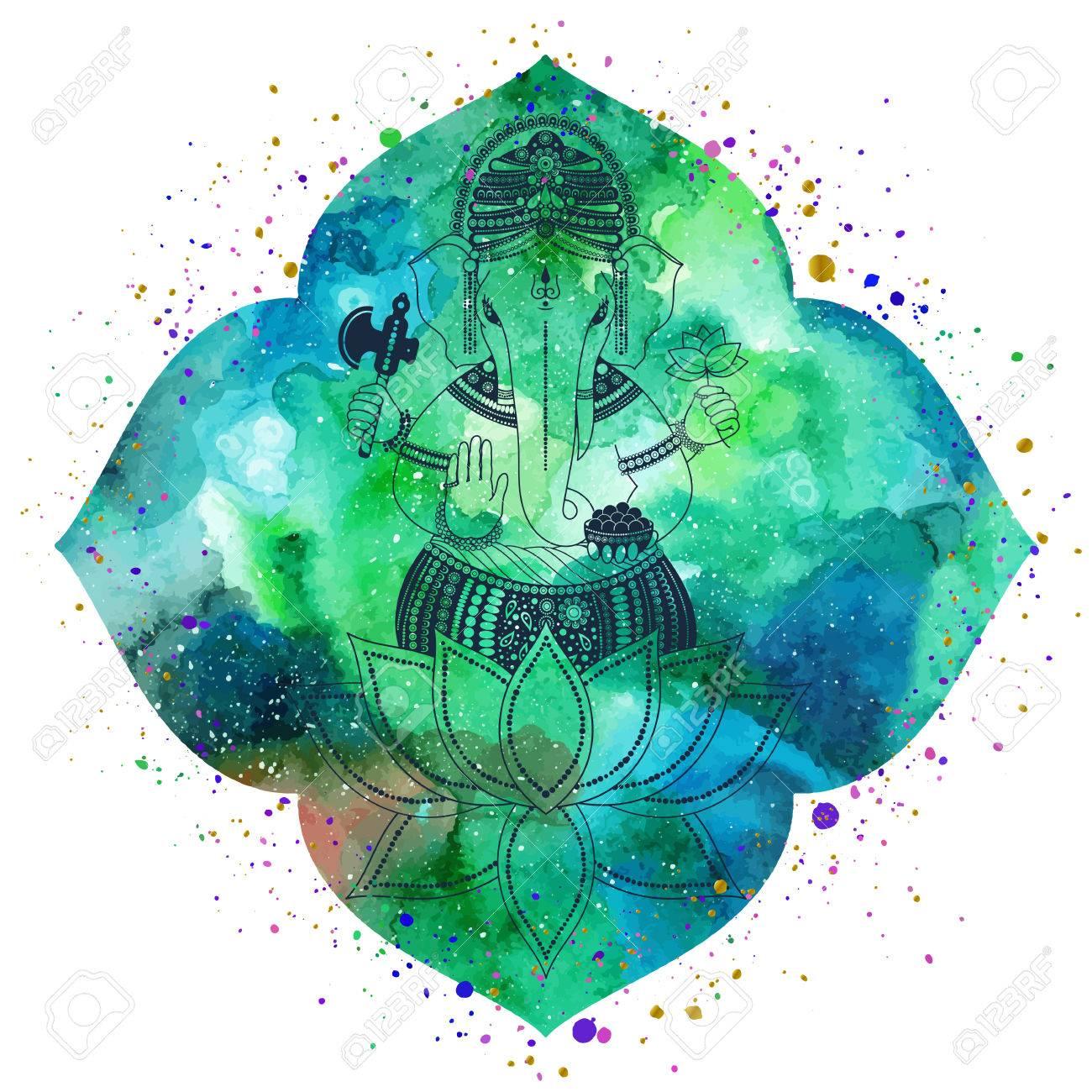 Ganesha O Ganapati Deidad India En El Hindú Silueta Sobre Una Flor