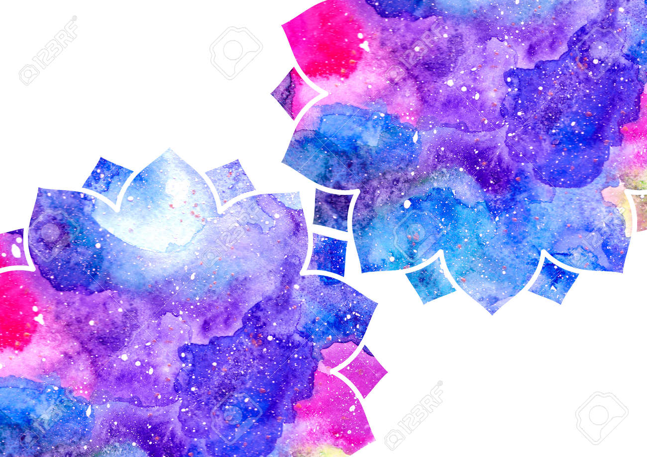Watercolor Blue Purple And Pink Abstract Flowers And White Stock
