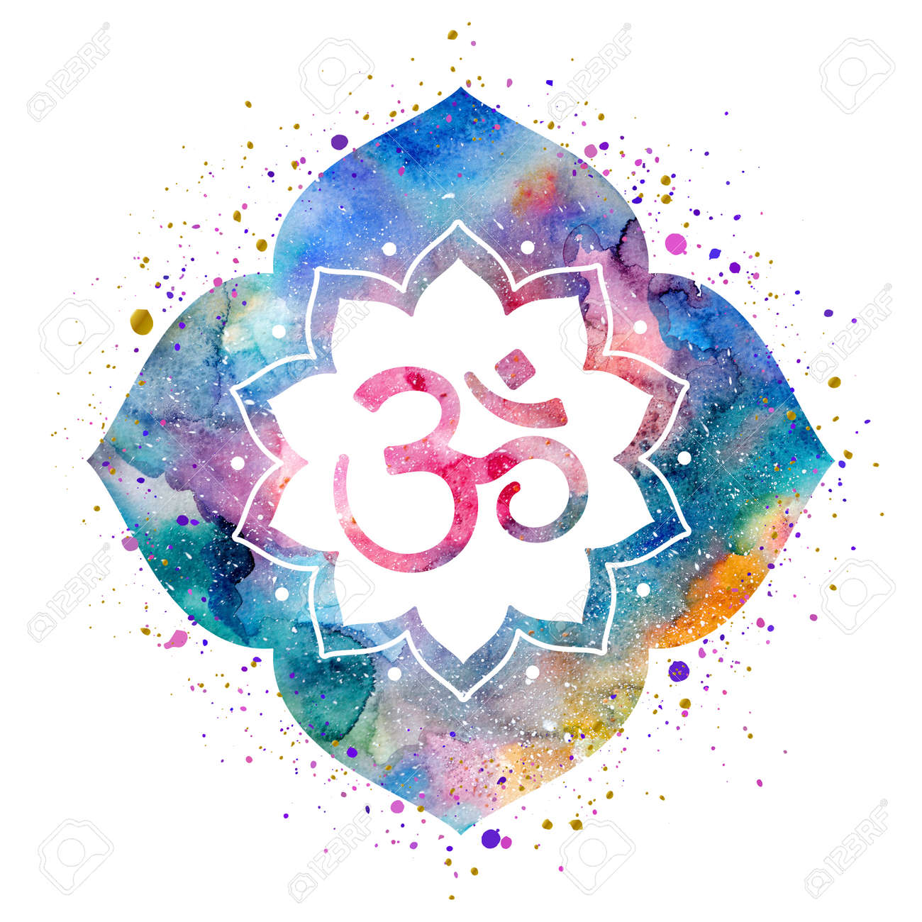 Om Sign In Lotus Flower Rainbow Watercolor Texture And Splash