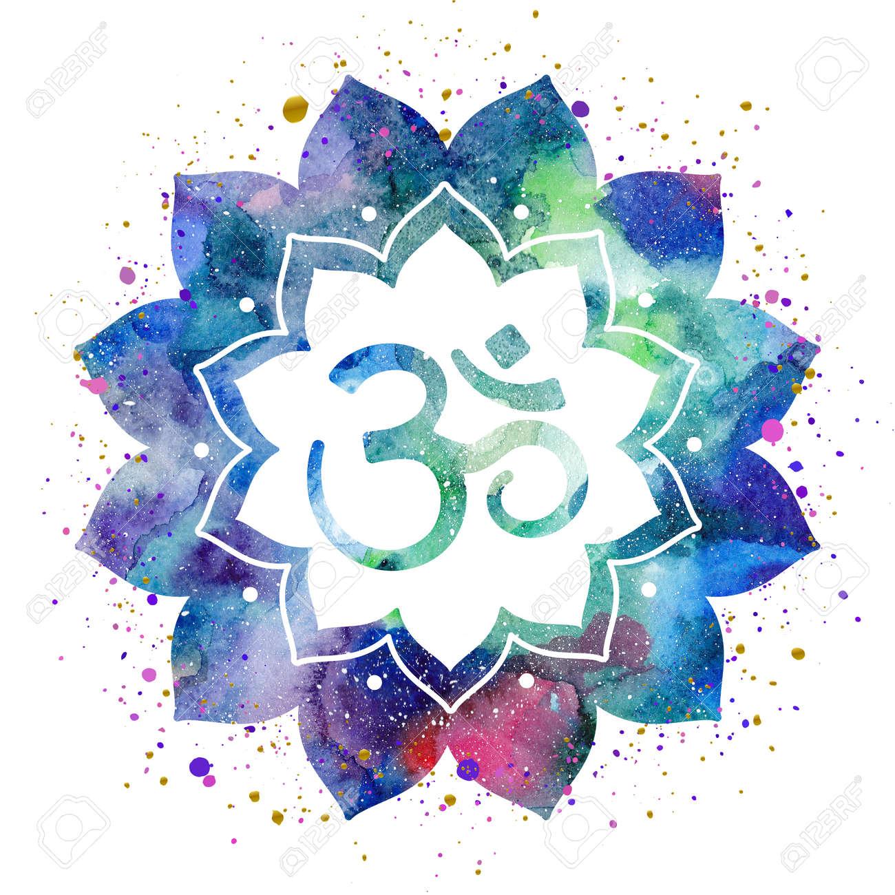 Om sign in lotus flower rainbow watercolor texture and splash om sign in lotus flower rainbow watercolor texture and splash isolated spiritual buddhist buycottarizona Gallery