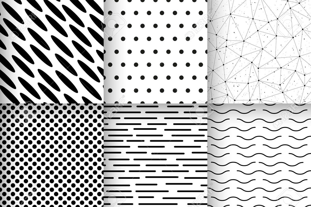 set of black and white seamless patterns with geometric shapes