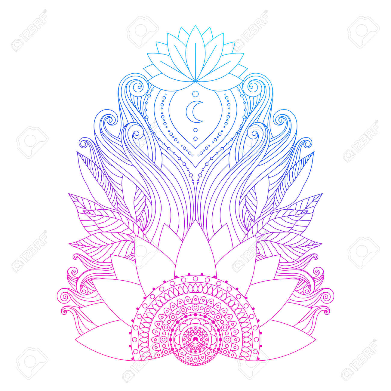 Spiritual Symbol Ornamental Pink Blue Lotus Flowers And Leaves