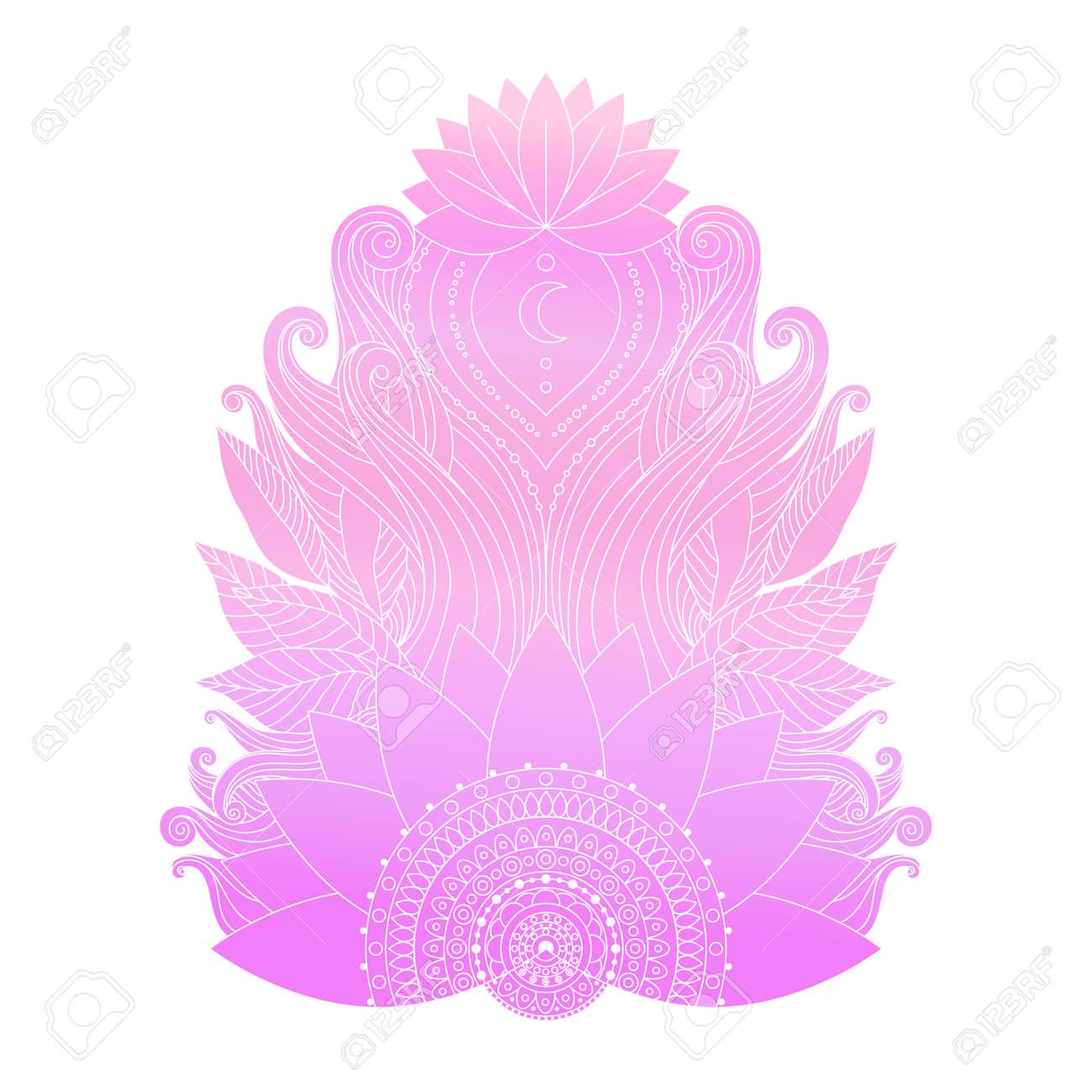 Spiritual Symbol Ornamental Cold Pink Lotus Flowers And Leaves
