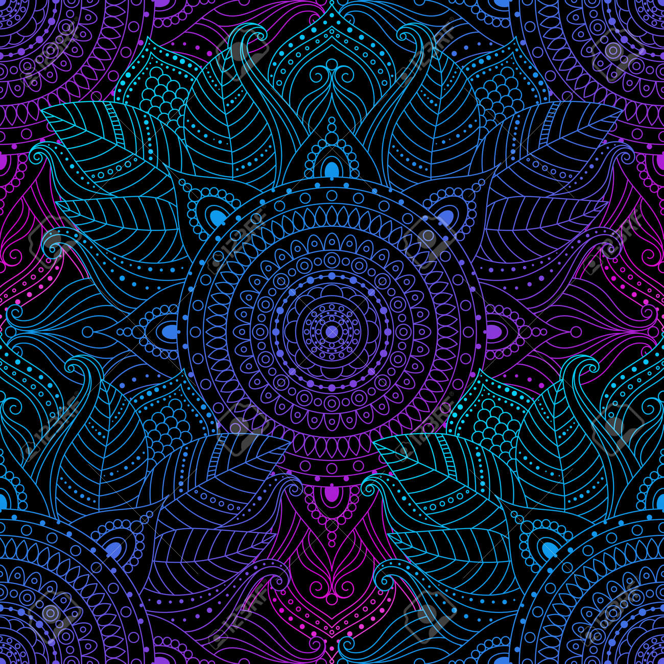 Seamless oriental arabesque pattern. Laced decorative floral pattern with circular ornament, gradient mandala on black background. Mosaic tiles boho, ethnic design in vector, Indian or Arabic motifs. - 136799245