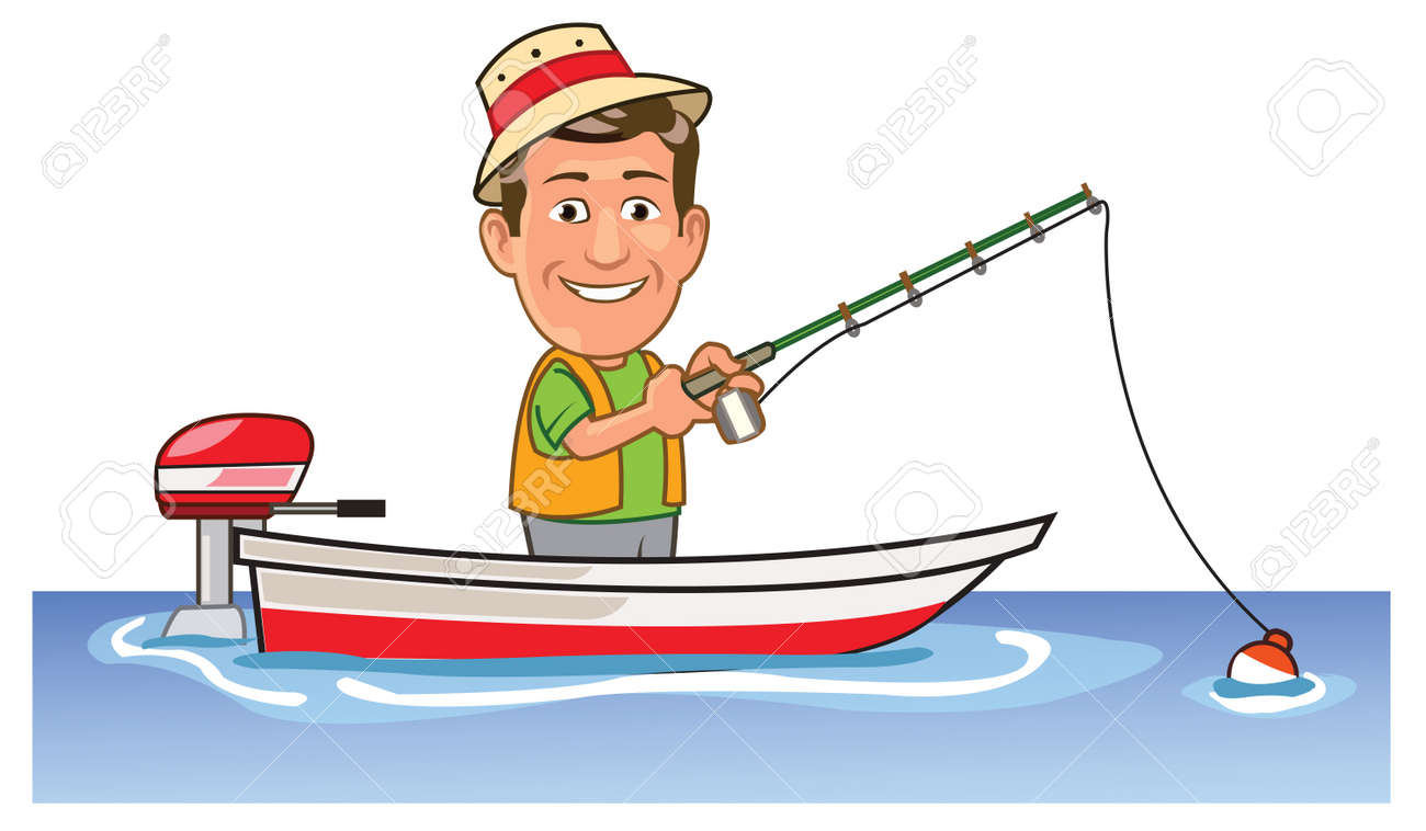 funny man spending holiday fishing on boat royalty free cliparts rh 123rf com man fishing clip art images man fishing clip art free