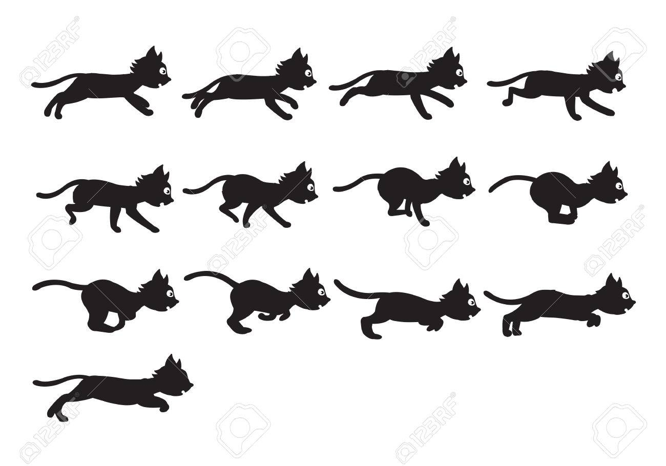 vector illustration of black cat sequence for animation or game