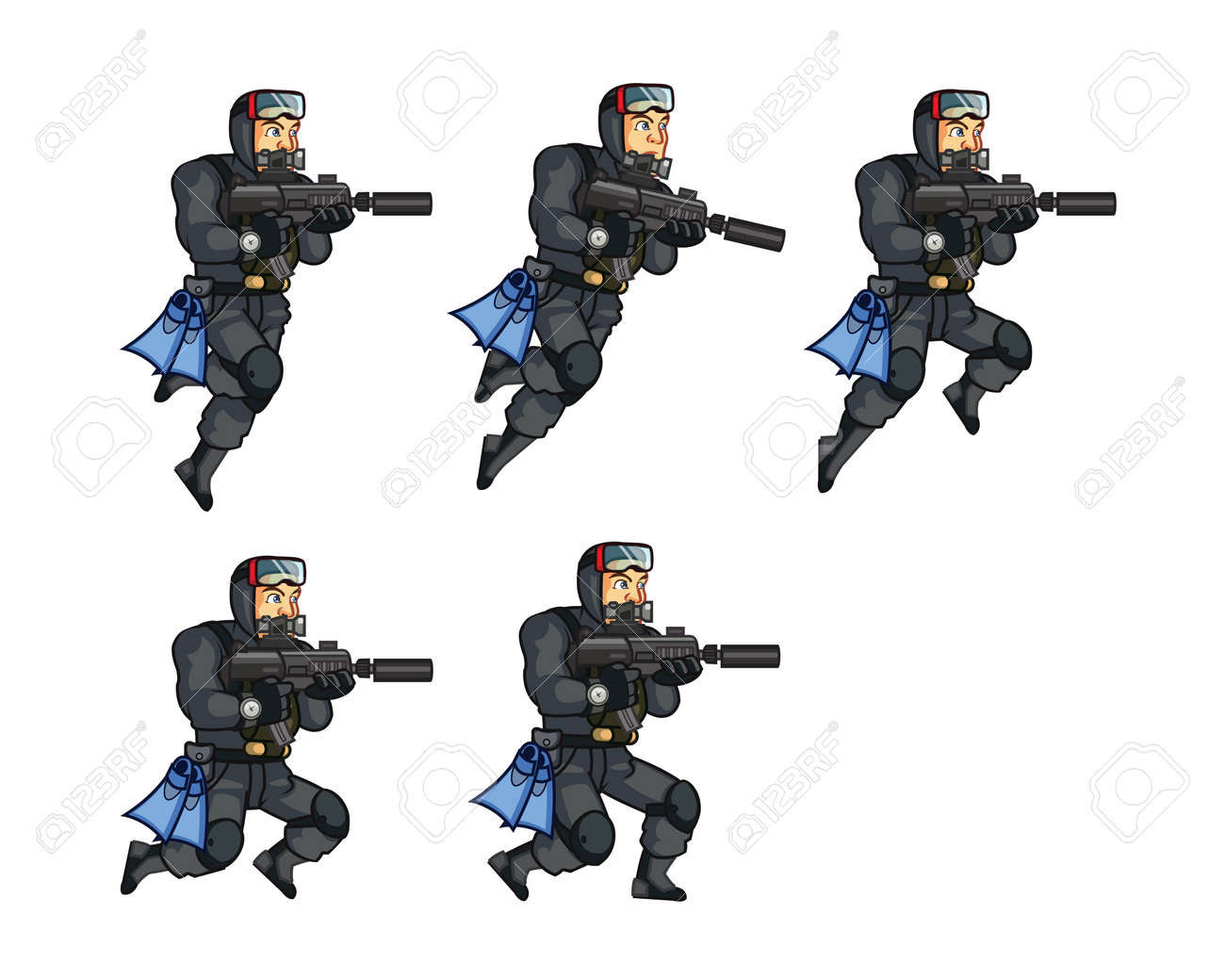 Navy Seal Jumping Sprite Royalty Free Cliparts Vectors And Stock