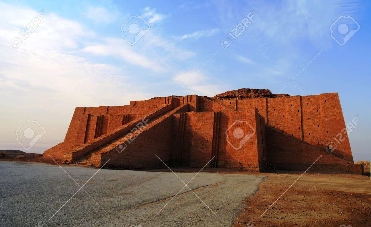 Restored ziggurat in ancient Ur, sumerian temple, Iraq - 63412084