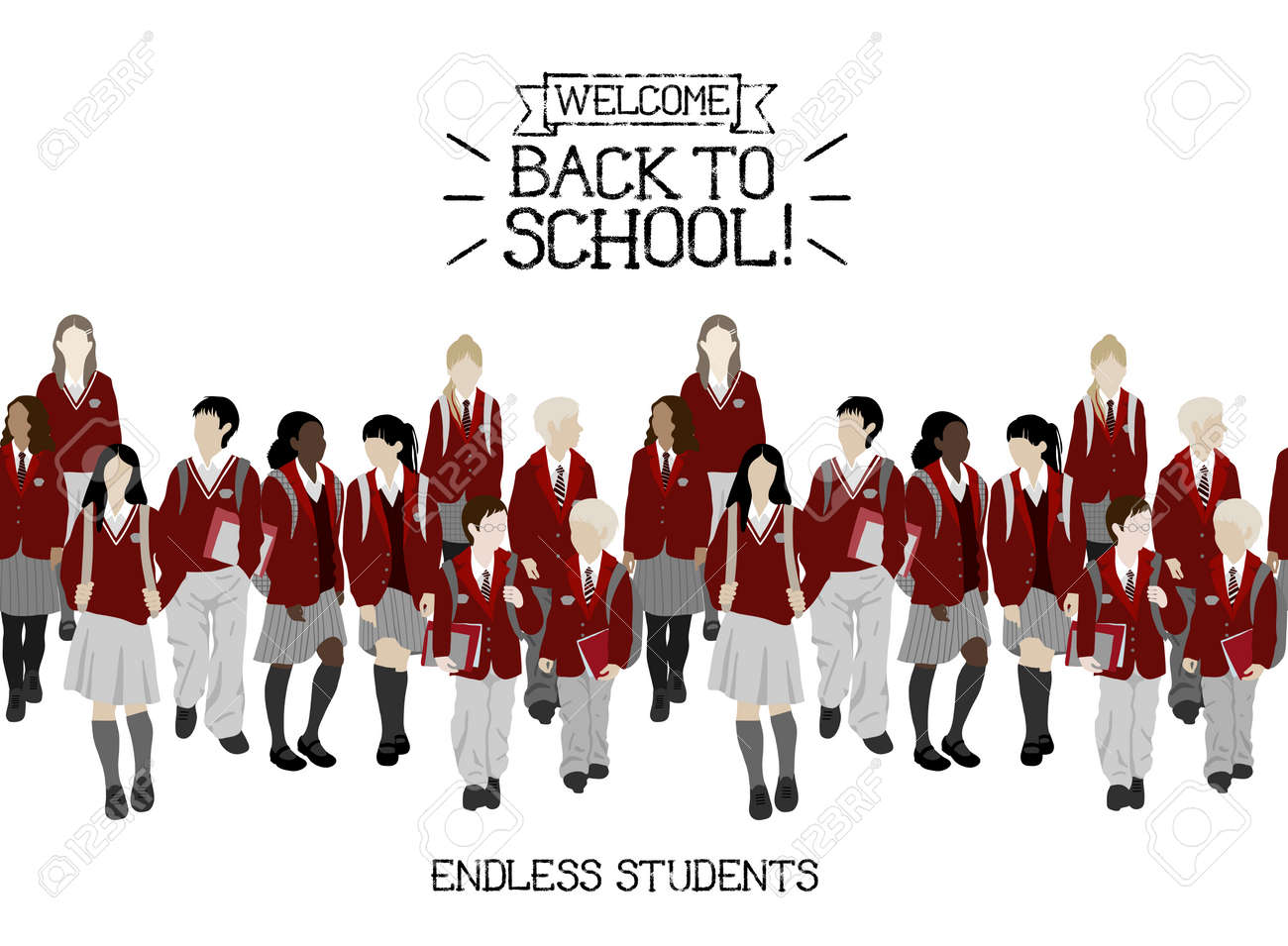 Group of vector students from high and elementary school. Boys and girls going to school. Seamless border. Each character can be separated from other need to ungroup. Easy to change color - 46929669