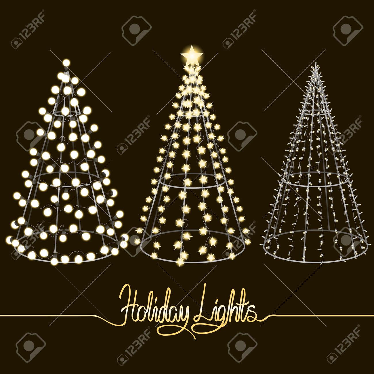 Resplandeciente árboles De Navidad. Esculturas Hechas De Pequeñas ...