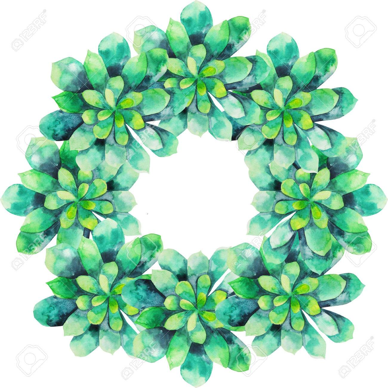 Watercolor Succulent Wreath Isolated On White Background Cute Stock Photo Picture And Royalty Free Image Image 51484741