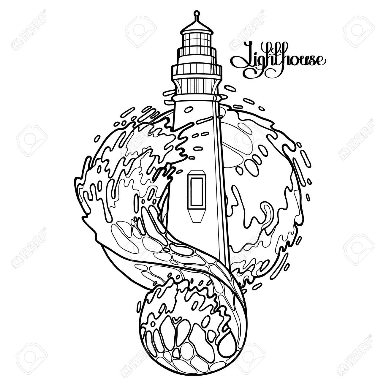 lighthouse among the storm waves graphic vector illustration