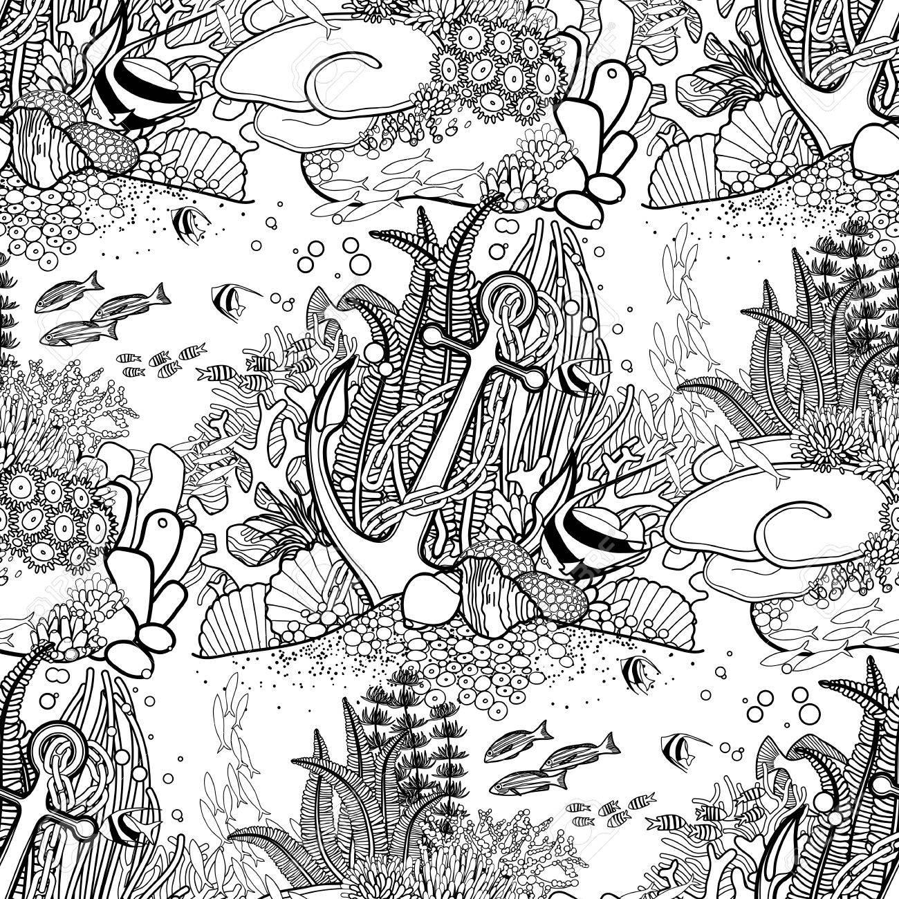 Ancla Y Los Arrecifes De Coral Dibujado En El Estilo De La Línea De ...