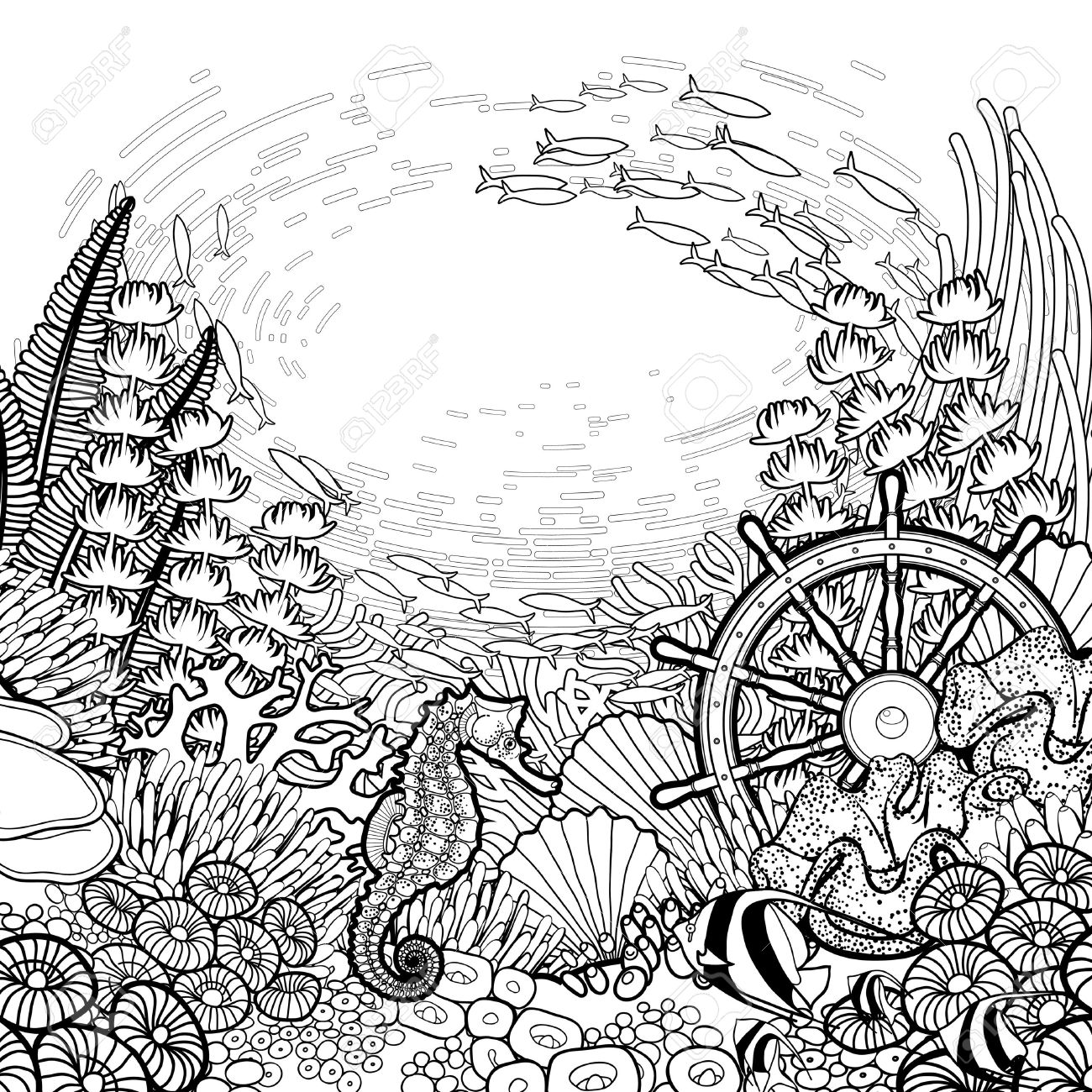 coral reef coloring pages good graphic coral reef with sea horse