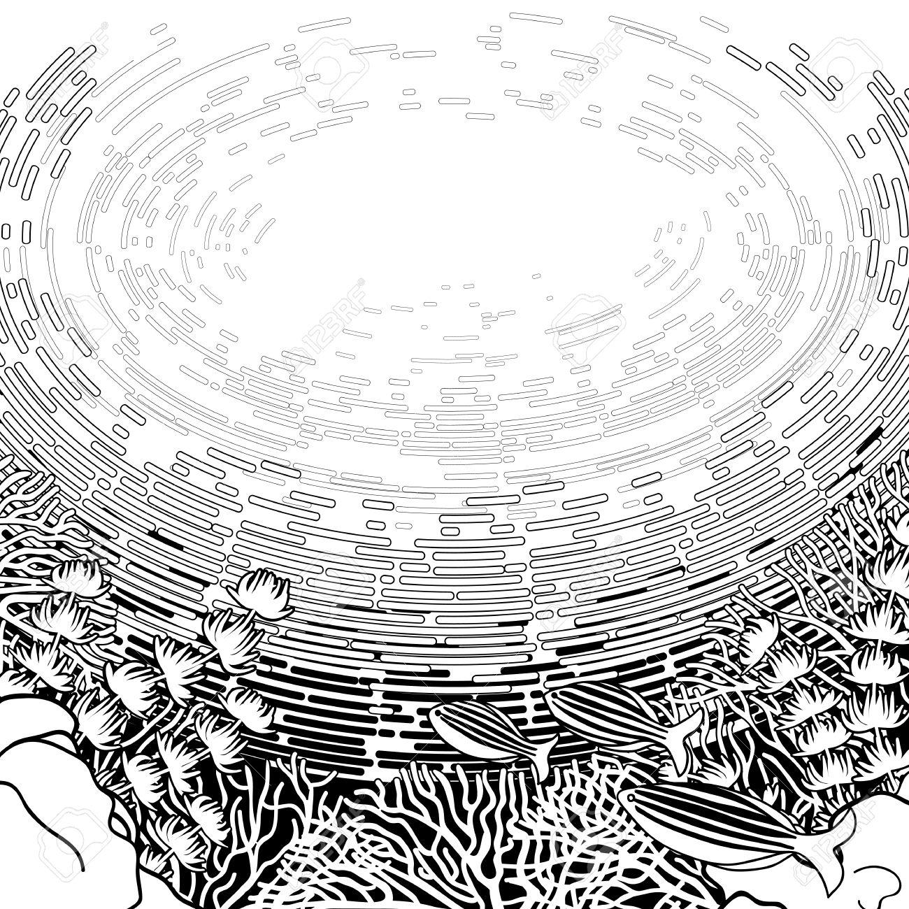 Gráfico De Arrecifes De Coral Y Las Aguas Superficiales Dibujan En ...
