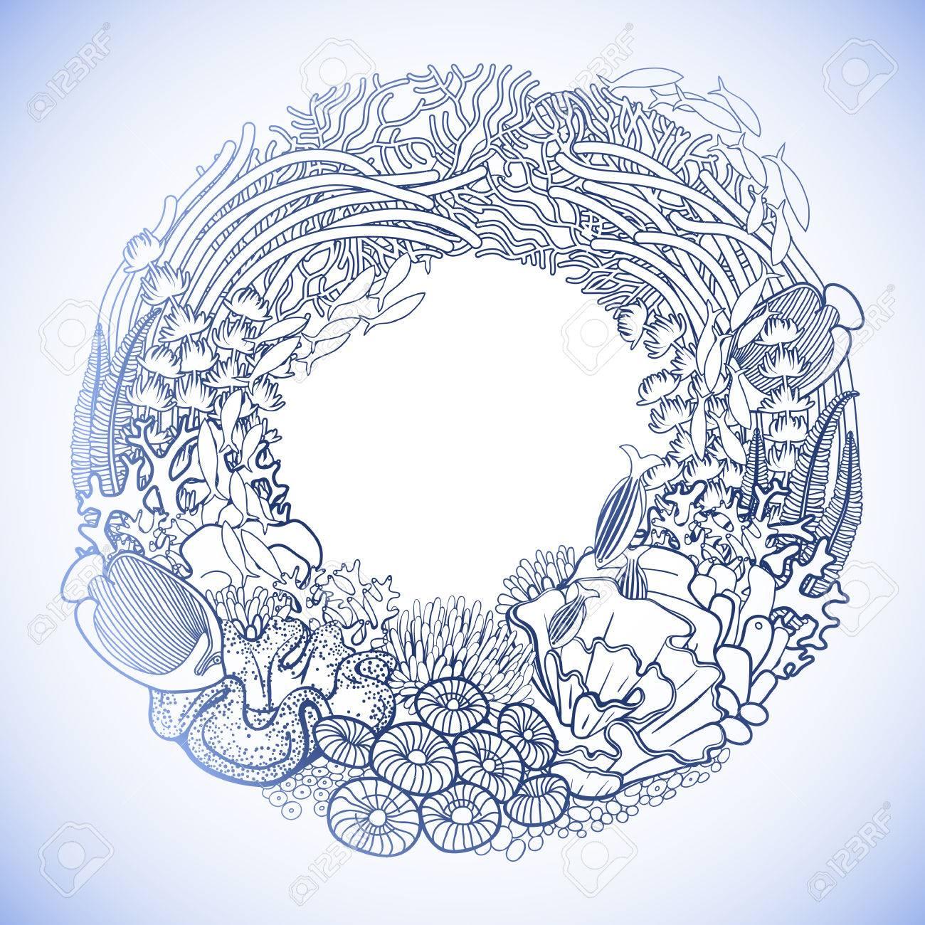 Arrecife De Coral Dibujado En Una Línea Estilo Del Arte. Corona De ...