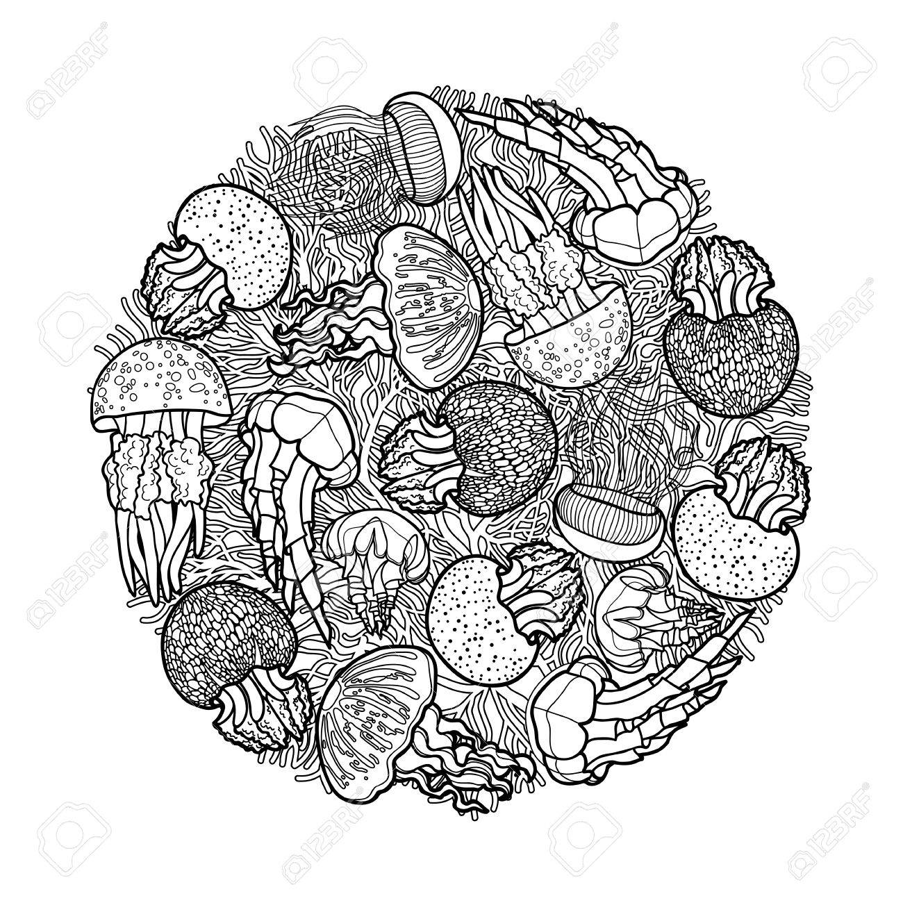 Remolino De Medusas Dibujado En Línea Estilo Del Arte. Tarjeta ...