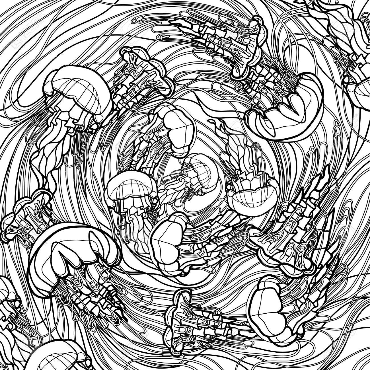 Coloring Book Page Design Swirl Of Jellyfish Drawn In Line Art Style Ocean Card Black And White Colors