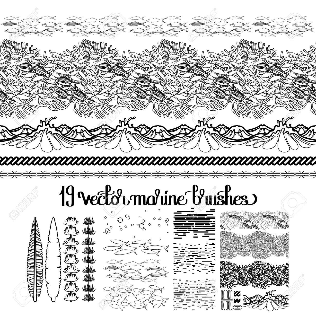 Colección De Los Cepillos Del Océano Dibujado En El Estilo De Arte