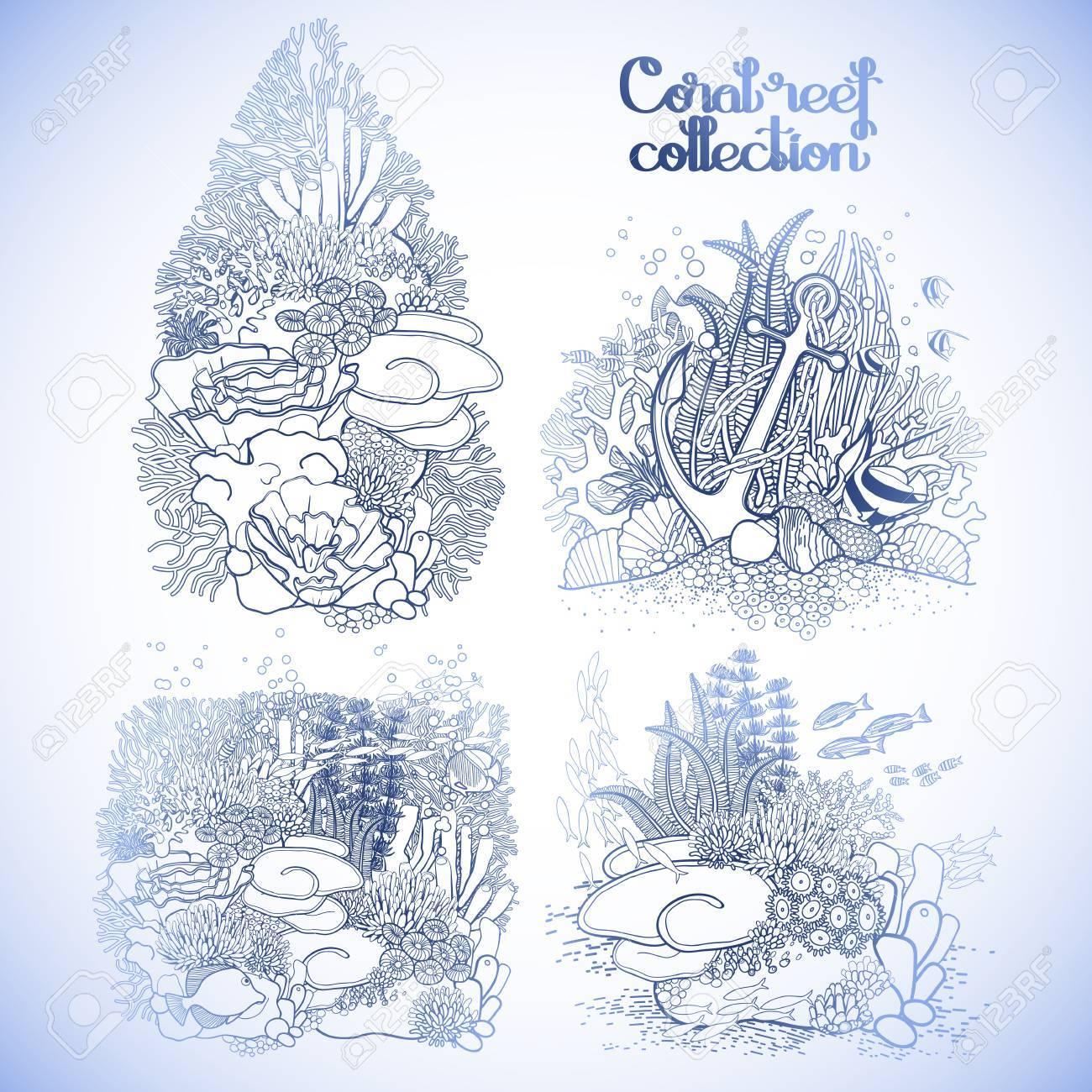 Colección Del Diseño Del Arrecife De Coral En El Estilo De La Línea