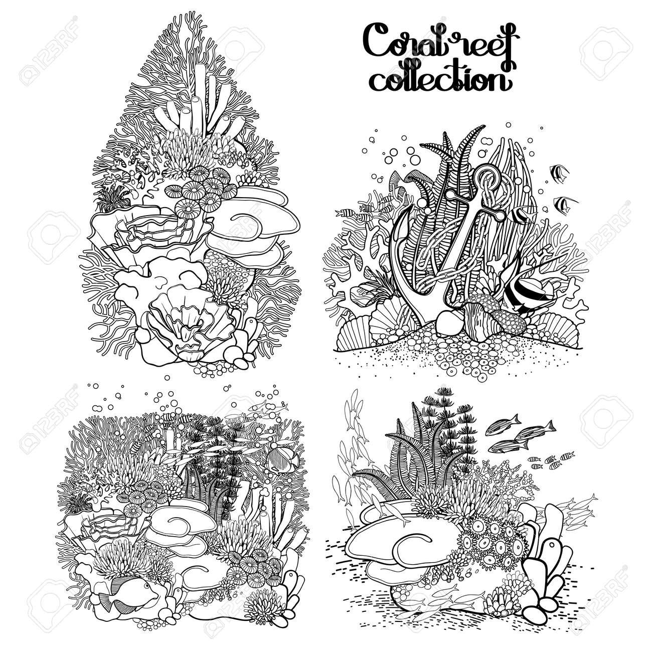 Colección De Los Arrecifes De Coral En El Estilo De La Línea De Arte