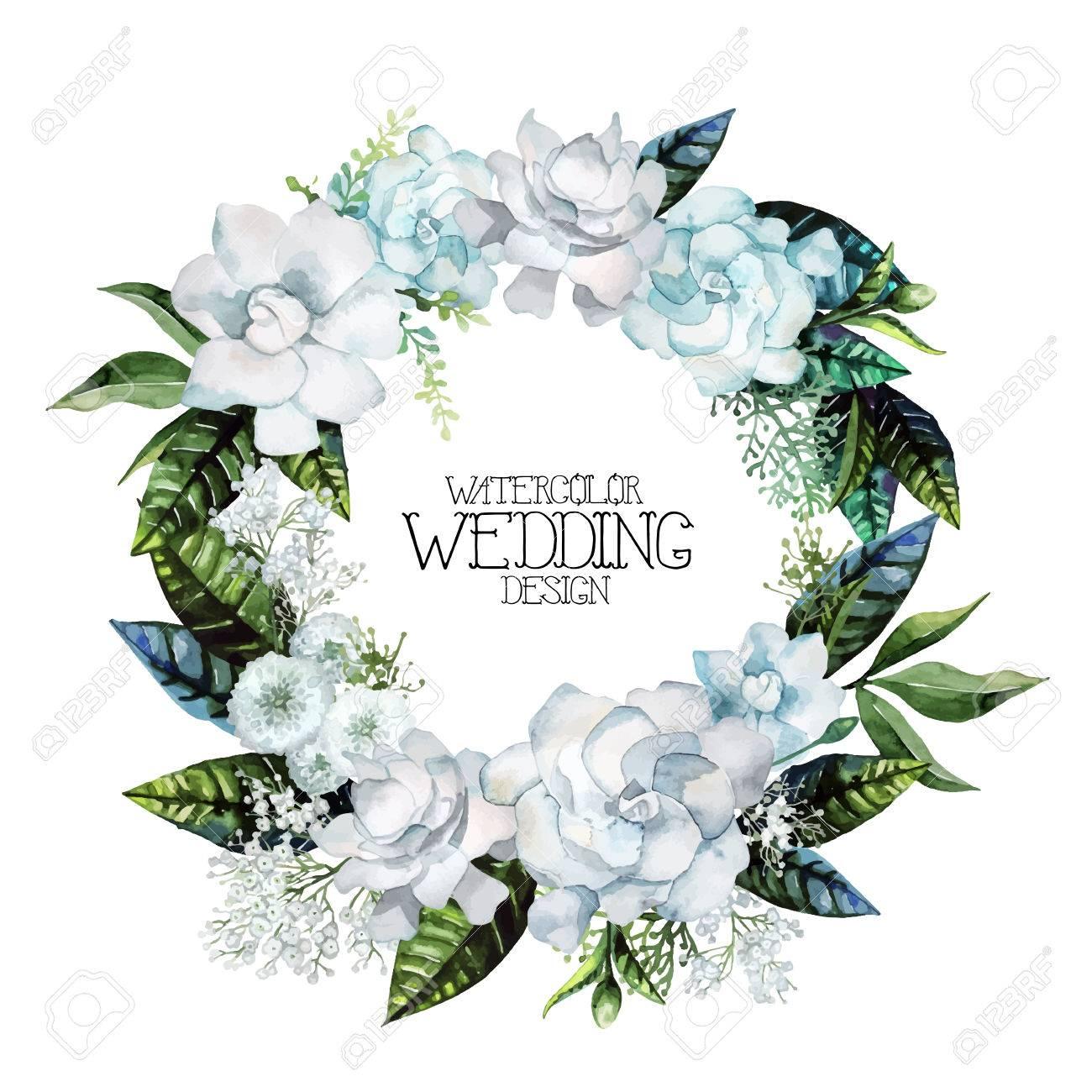水彩のクチナシとカスミソウの花輪白い背景に分離された花のベクトル