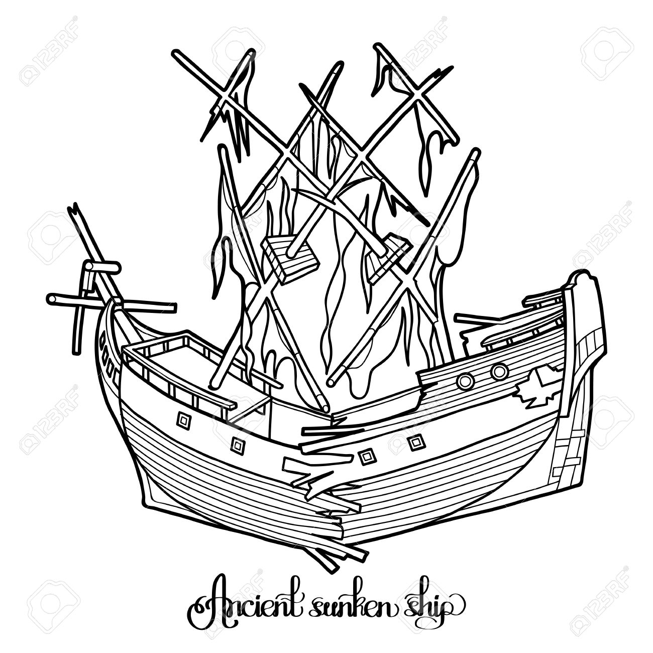 pirate shipwreck ancient sunken ship graphic vector illustration isolated on white background coloring