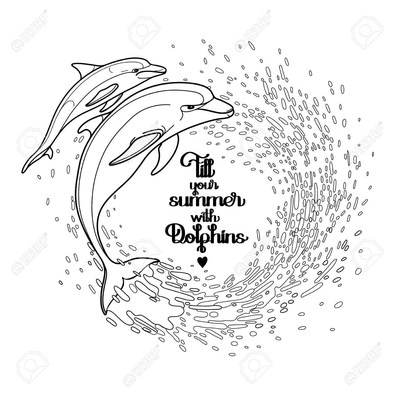 Graphic Dolphins With Circle Of Water Splashes. Summer Mood. Vector Art  Isolated On White