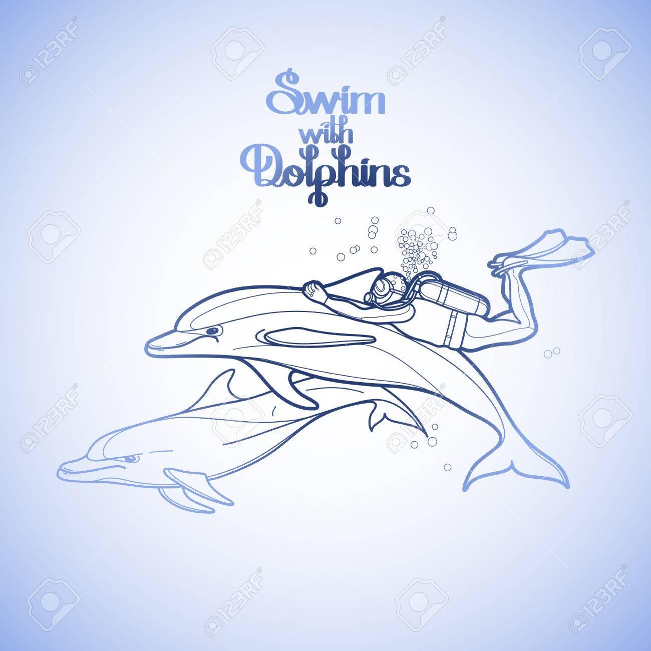 Gráfico Buzo Que Monta El Delfín. La Actividad Subacuática Verano ...