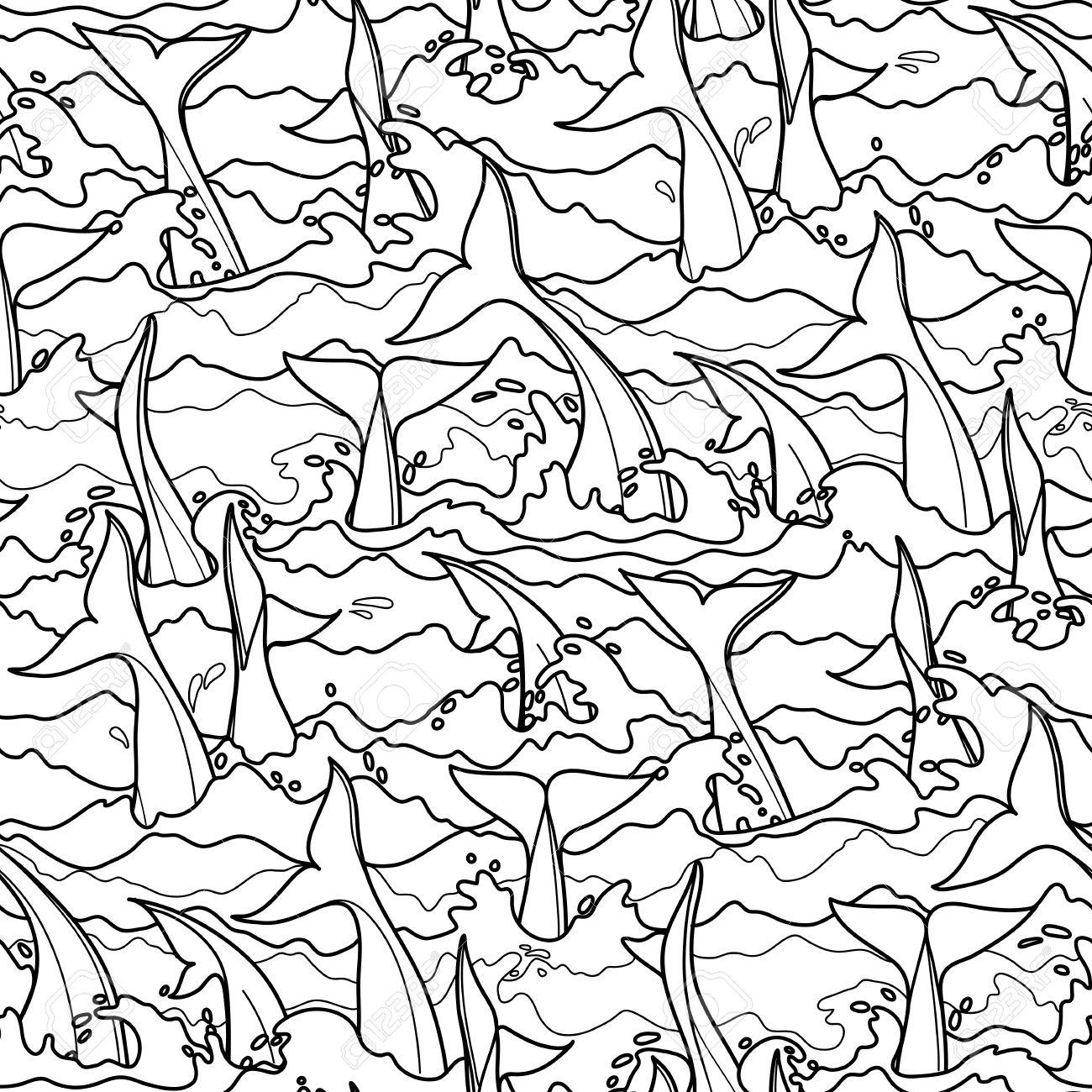 Delfín Gráfico Patrón Transparente. Colas En El Agua De Tormenta ...