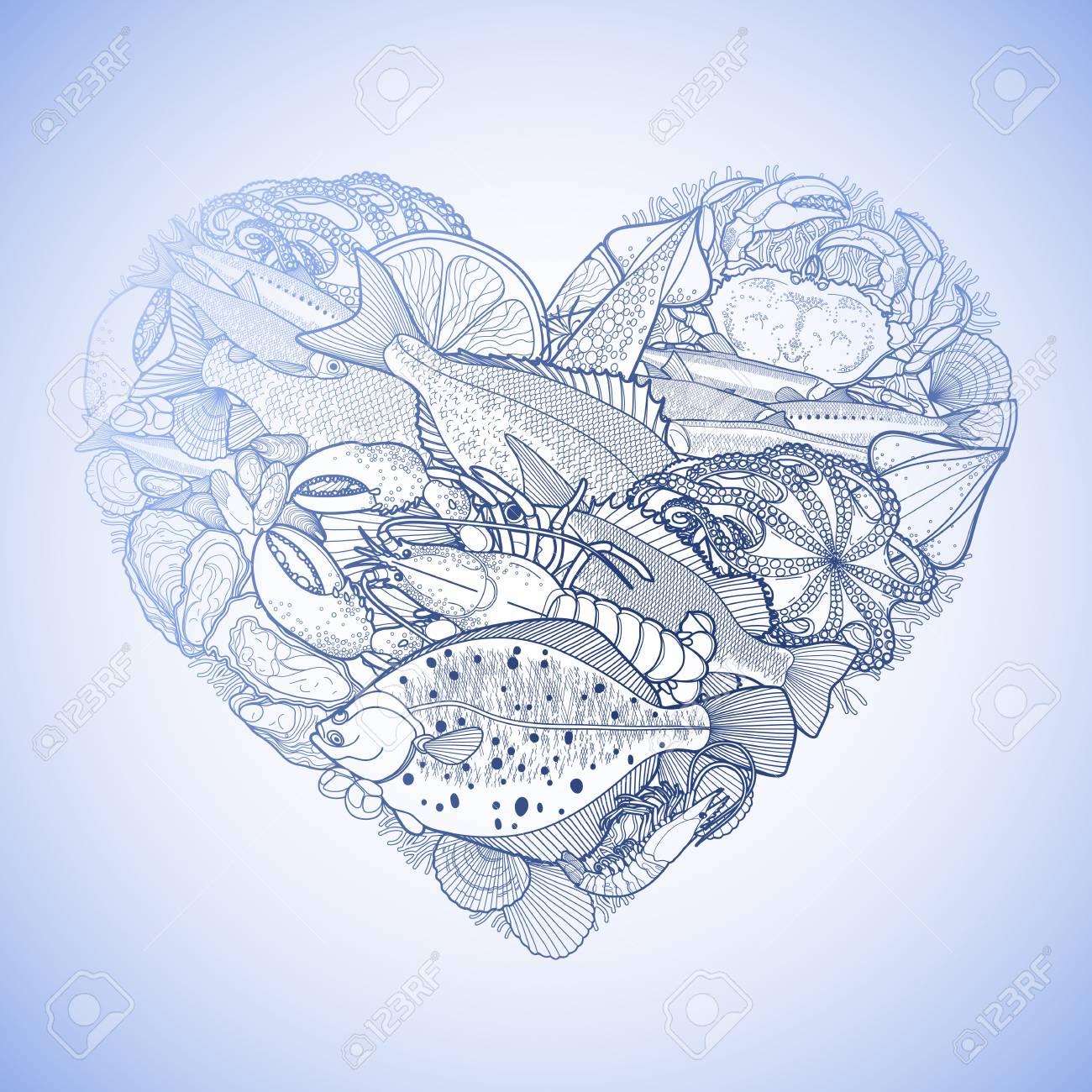 Marisco Gráfica En Forma De Corazón. Mar Y Océano Criaturas Aisladas ...