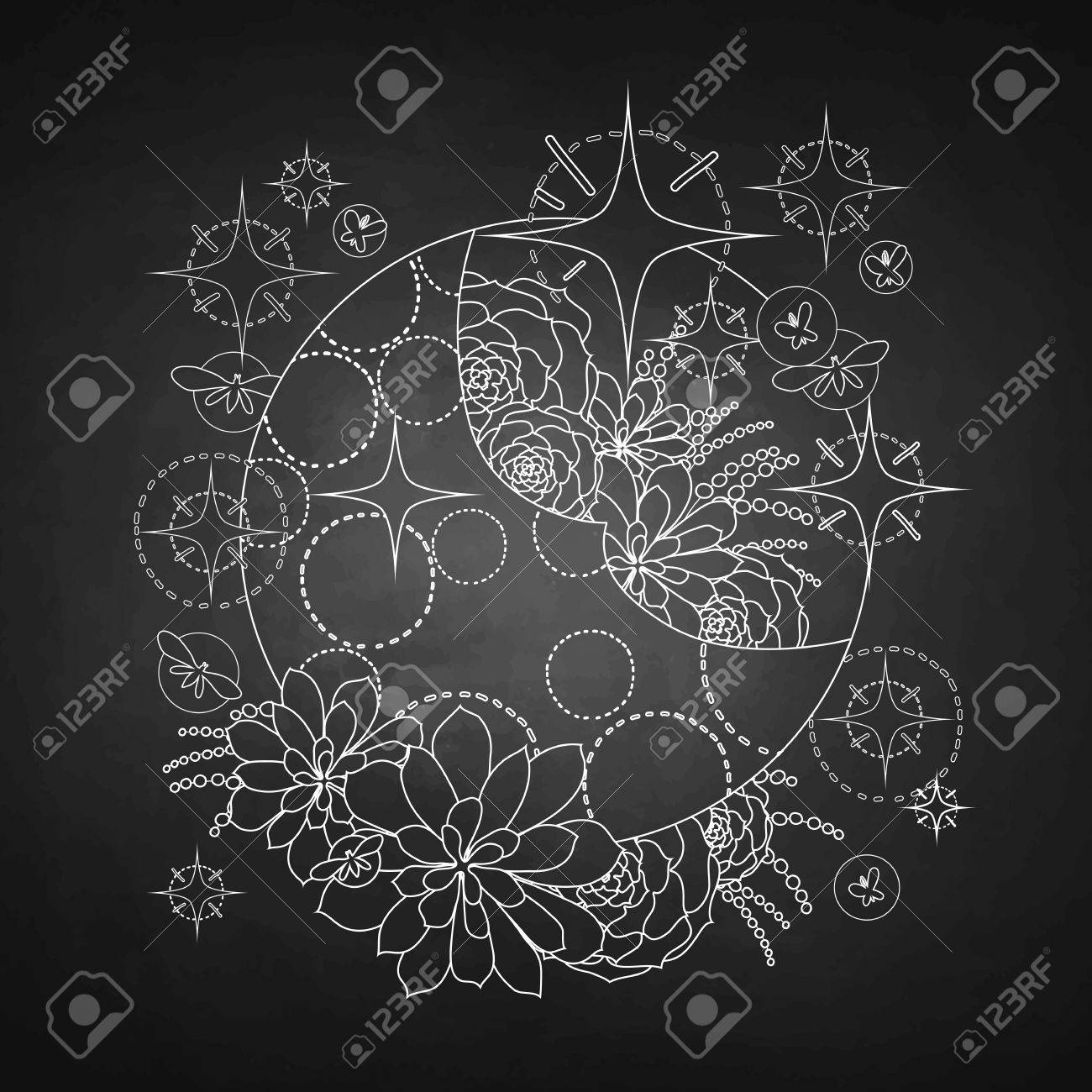 Graphic Moon With Succulent Design Among Stars And Glowing Butterflies Royalty Free Cliparts Vectors And Stock Illustration Image 58553341