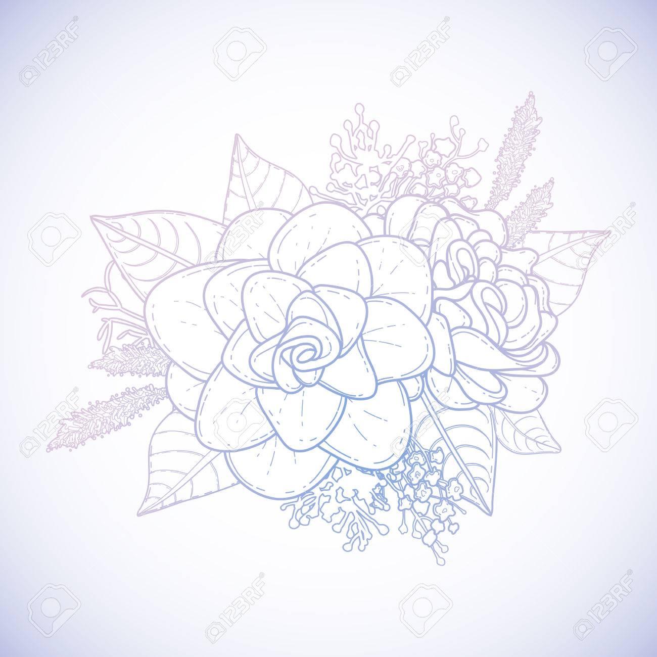 Tarjeta Floral Gráfico. Vector Aislado Hojas Y Flores En Una Viñeta ...