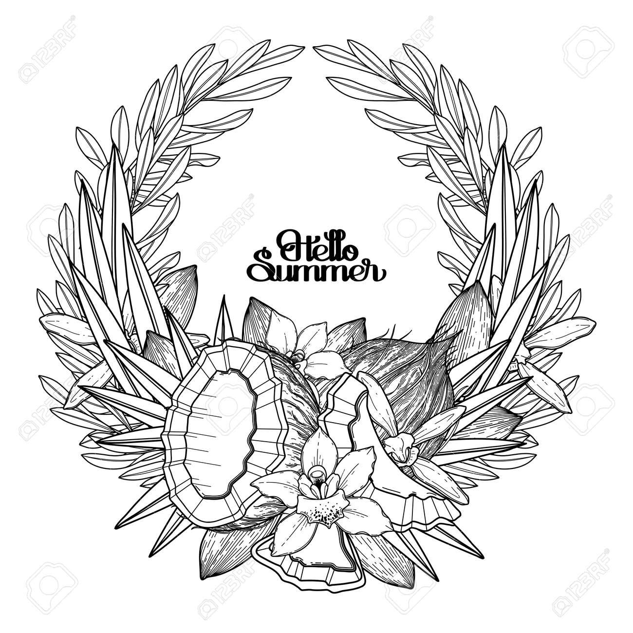 Flores De Vainilla Y Coco Gráficos Corona De Flores Vector Decoraciones Naturales Aislados Sobre Fondo Blanco Diseño De Páginas De Libro Para