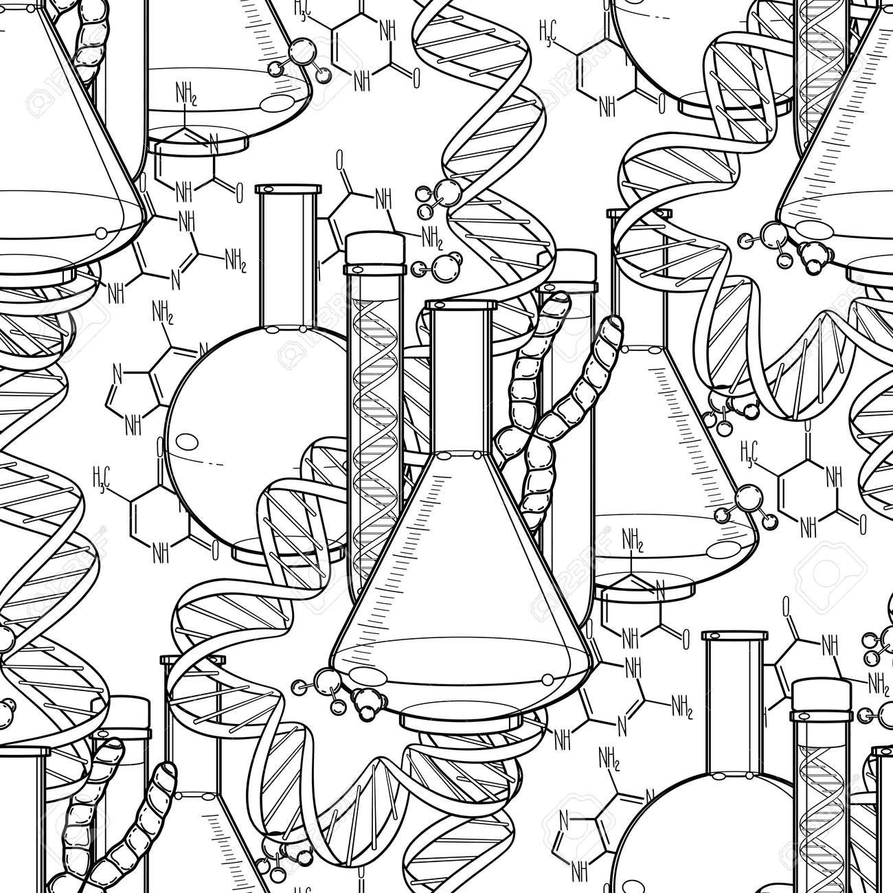 Patrón De La Investigación Genética Tubo De Ensayo Gráfico Las Secuencias De Adn Y Las Fórmulas Químicas Vector Patrón Transparente Médica Diseño
