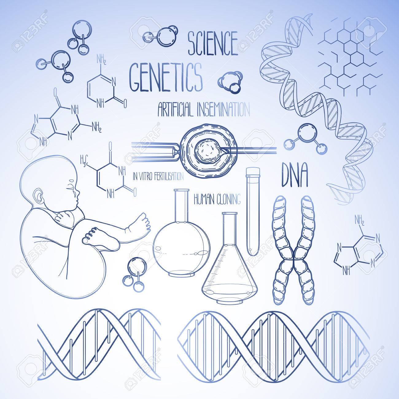 Graphic Genetic Research Set Vector Medical And Science Collection In Blue Colors Coloring Book
