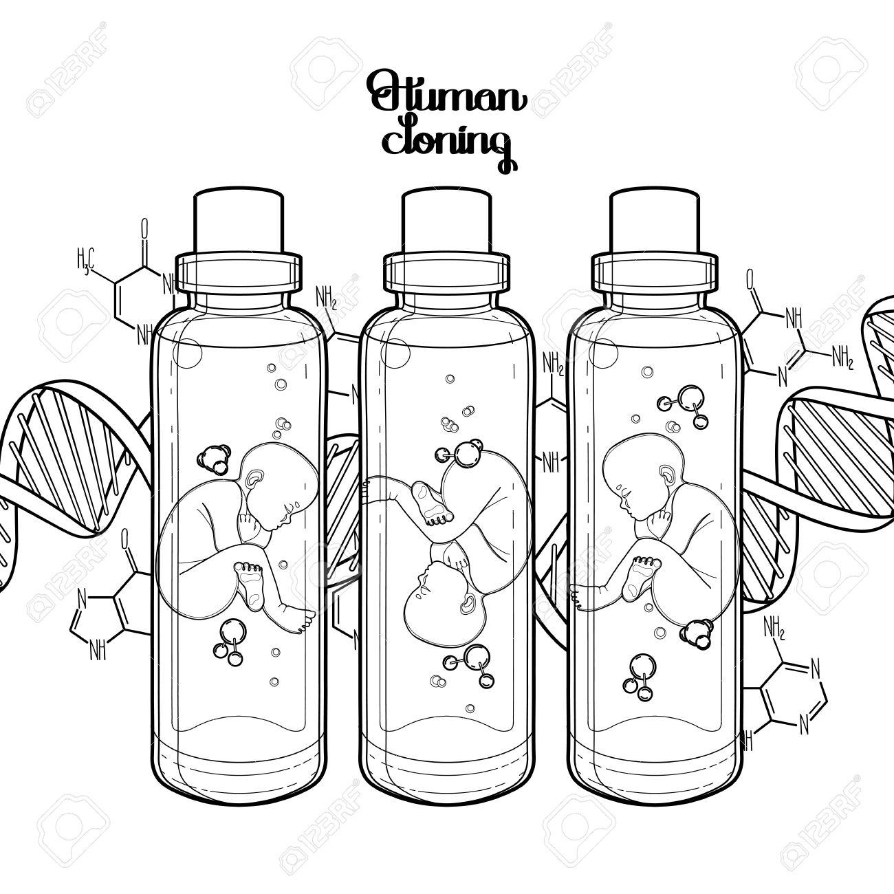 Feto Gráfico De Vector De La Botella De Vidrio Y Fondo Del Adn Inseminación Artificial O Fecundación In Vitro Tema Ciencia Ilustración Vectorial