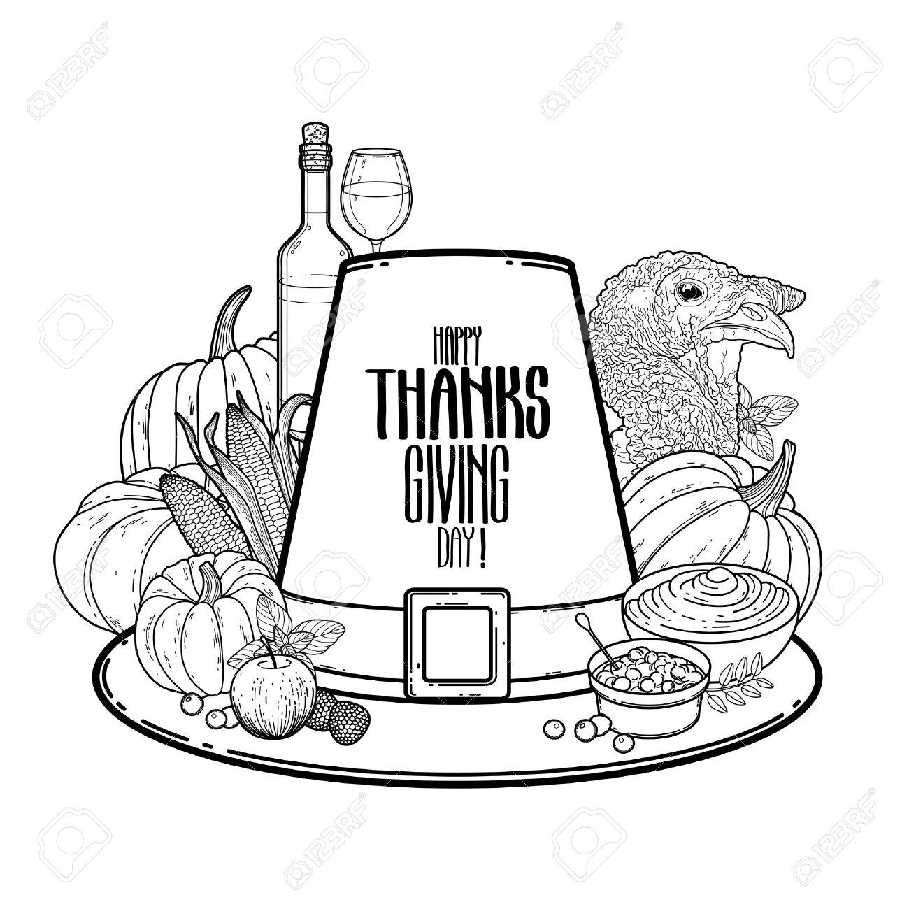 Arte Gráfico Del Día De Acción De Gracias. Sombrero Piligrim Vector ...