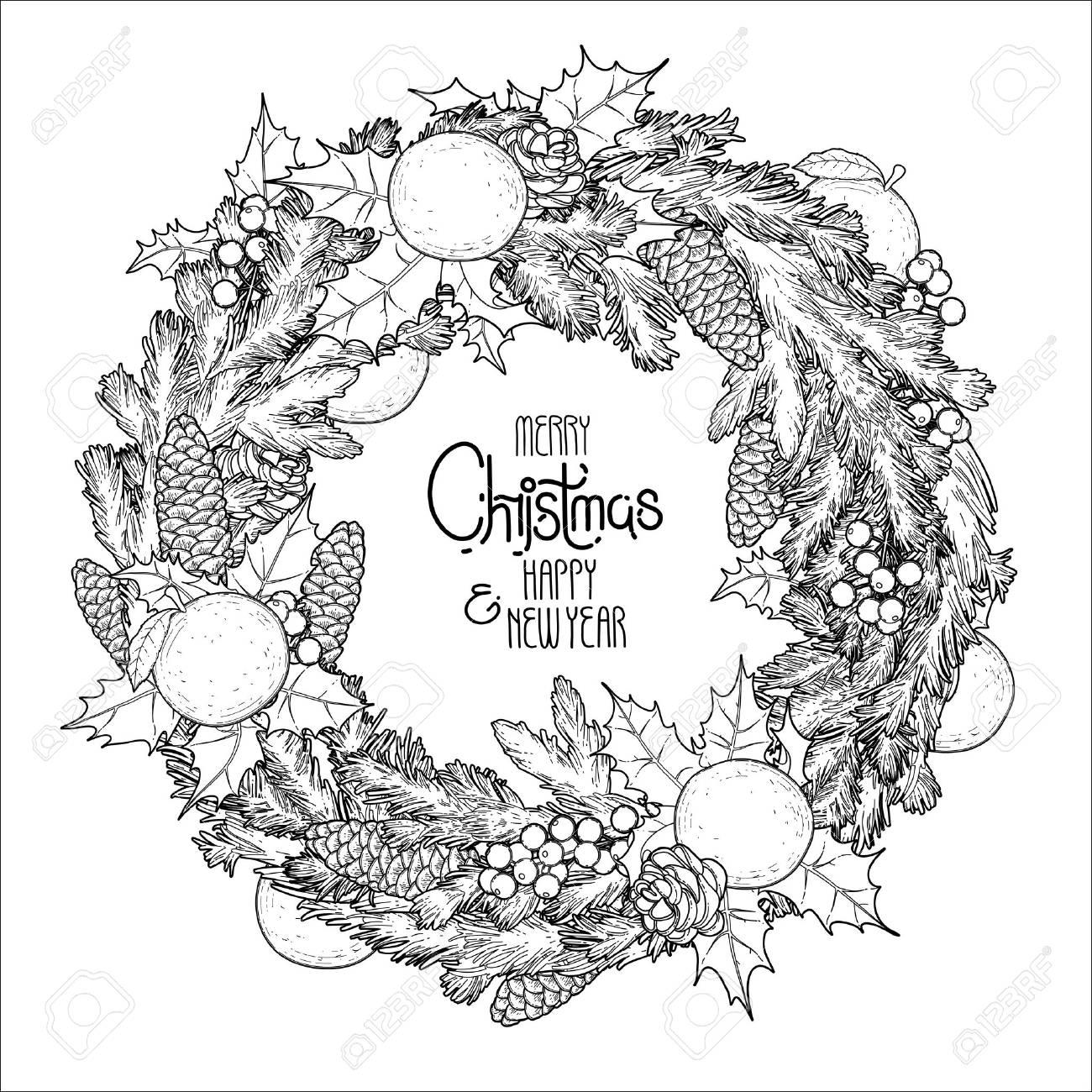 Guirnalda De Abeto De Navidad Con Mandarinas Y Acebo. Diseño De ...
