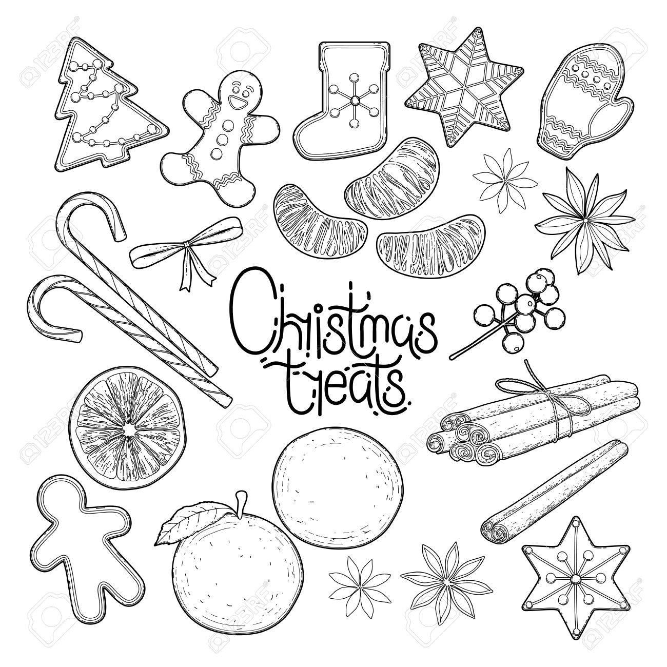 Gran Variedad De Dulces De Navidad Gráficos Dibujados En Línea ...