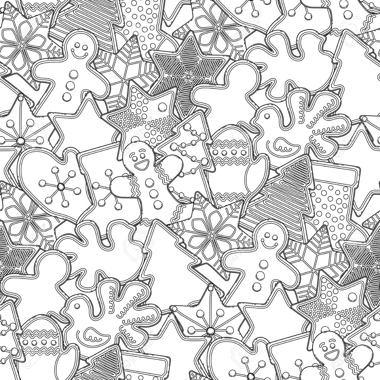 Diseño De Navidad Con Pan De Jengibre De Diferentes Formas. Vector ...