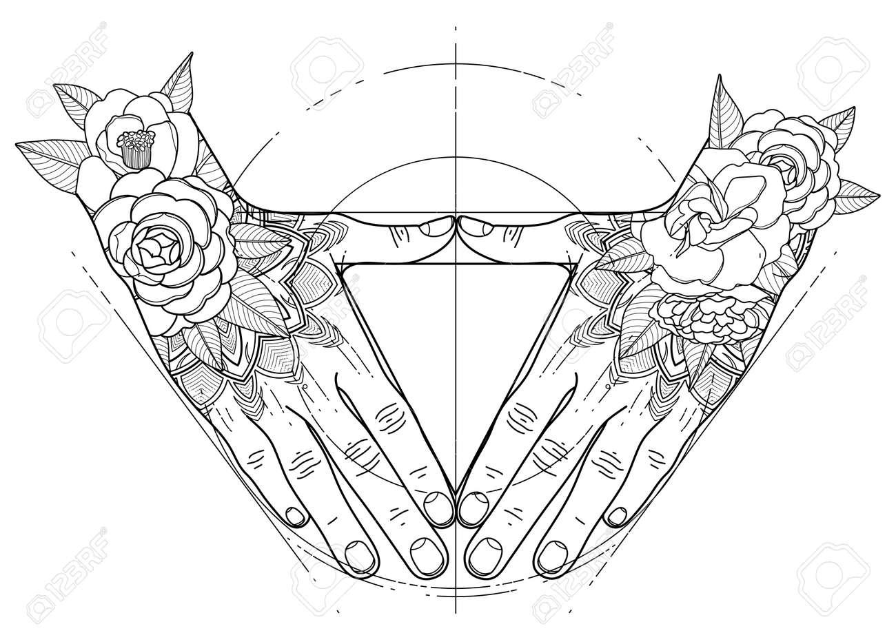 Manos Gráficas Doblado En Forma De Triángulo. Geometría Sagrada ...