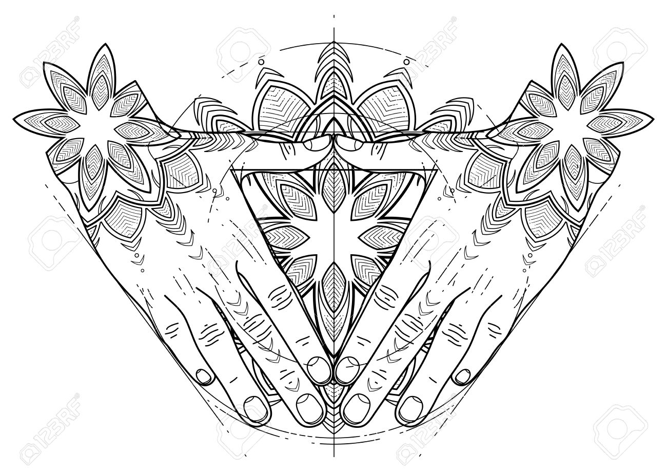 graphic hands folded in the shape of triangle sacred geometry tattoo art coloring - Sacred Geometry Coloring Book