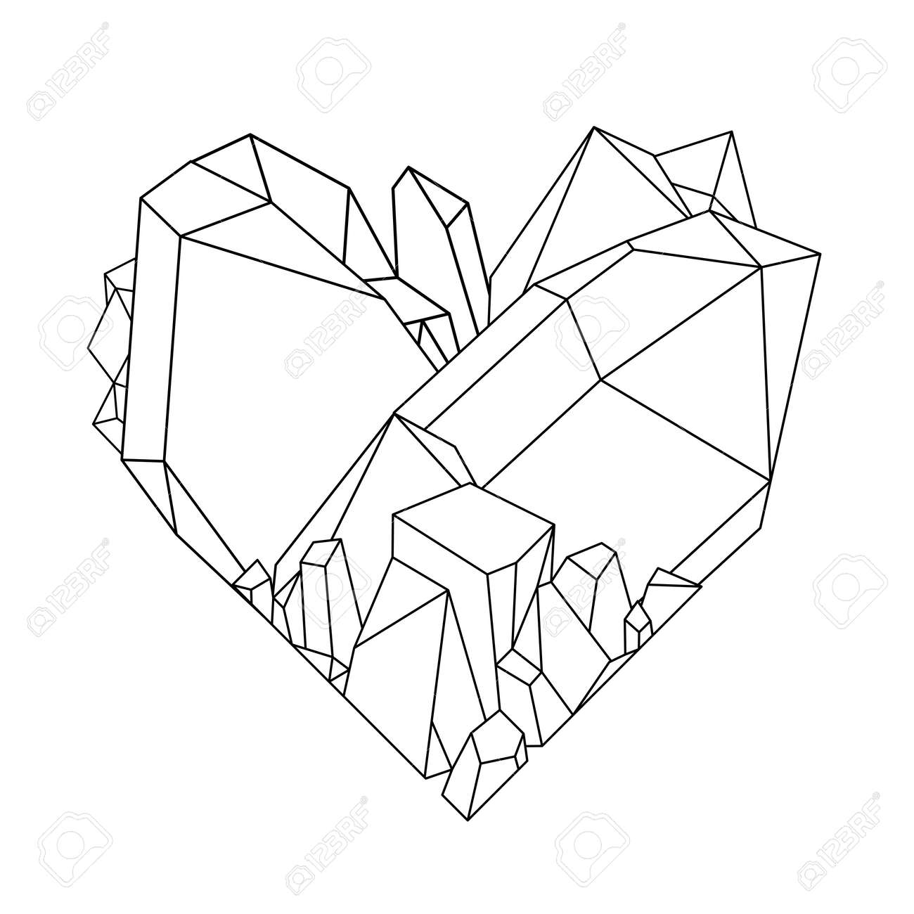 Crystal Heart Drawing | Gold Wallpapers