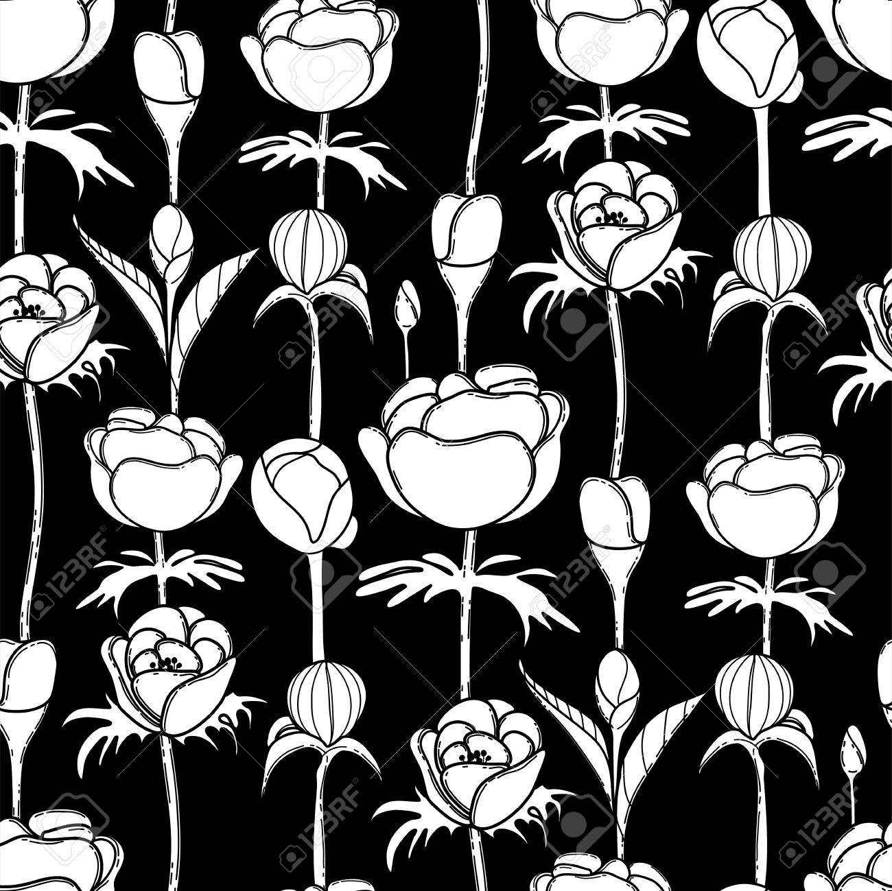 Coloring pages of flower buds - Graphic Flower Buds Vector Seamless Pattern Coloring Page Design For Adults And Kids Stock