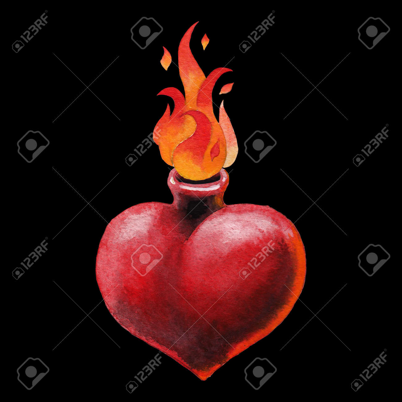 1954ee0f8b3b Stock Photo - Watercolor flaming heart