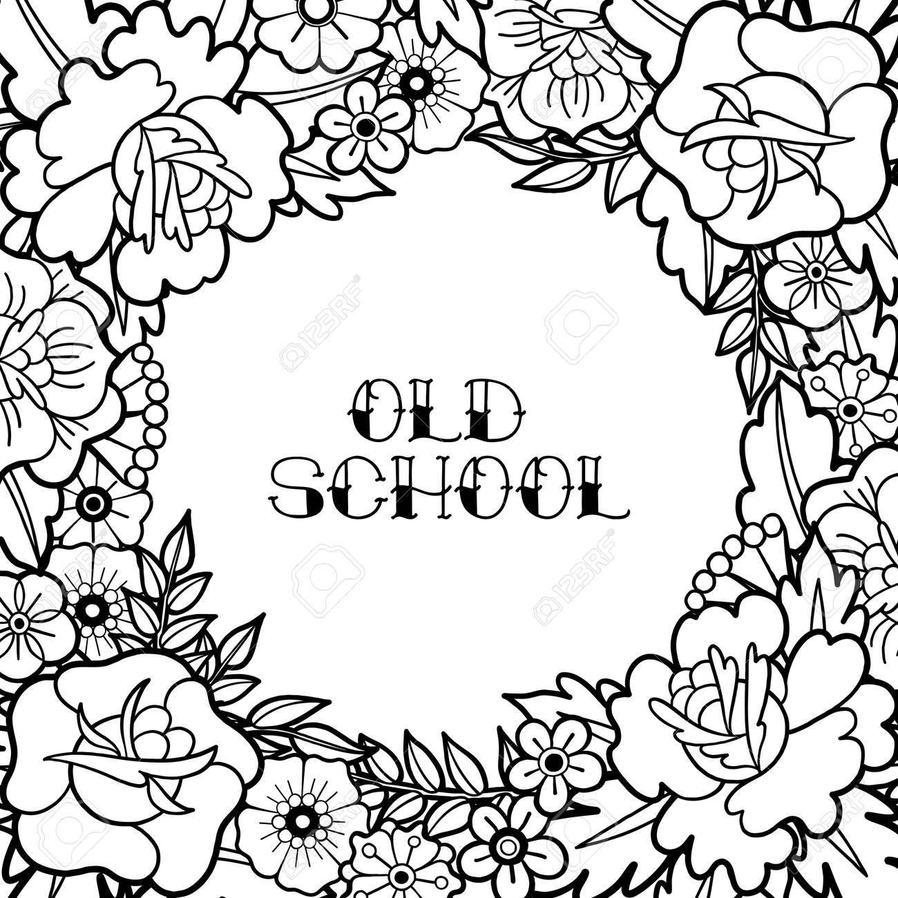 Vector Vintage Design Drawn In Old School Tattoo Style Coloring Book