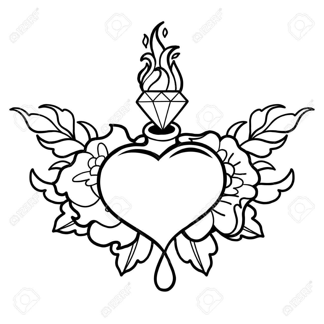 graphic heart with flaming gem and floral decorations vector Rockabilly Bands graphic heart with flaming gem and floral decorations vector art for old school tattoo design
