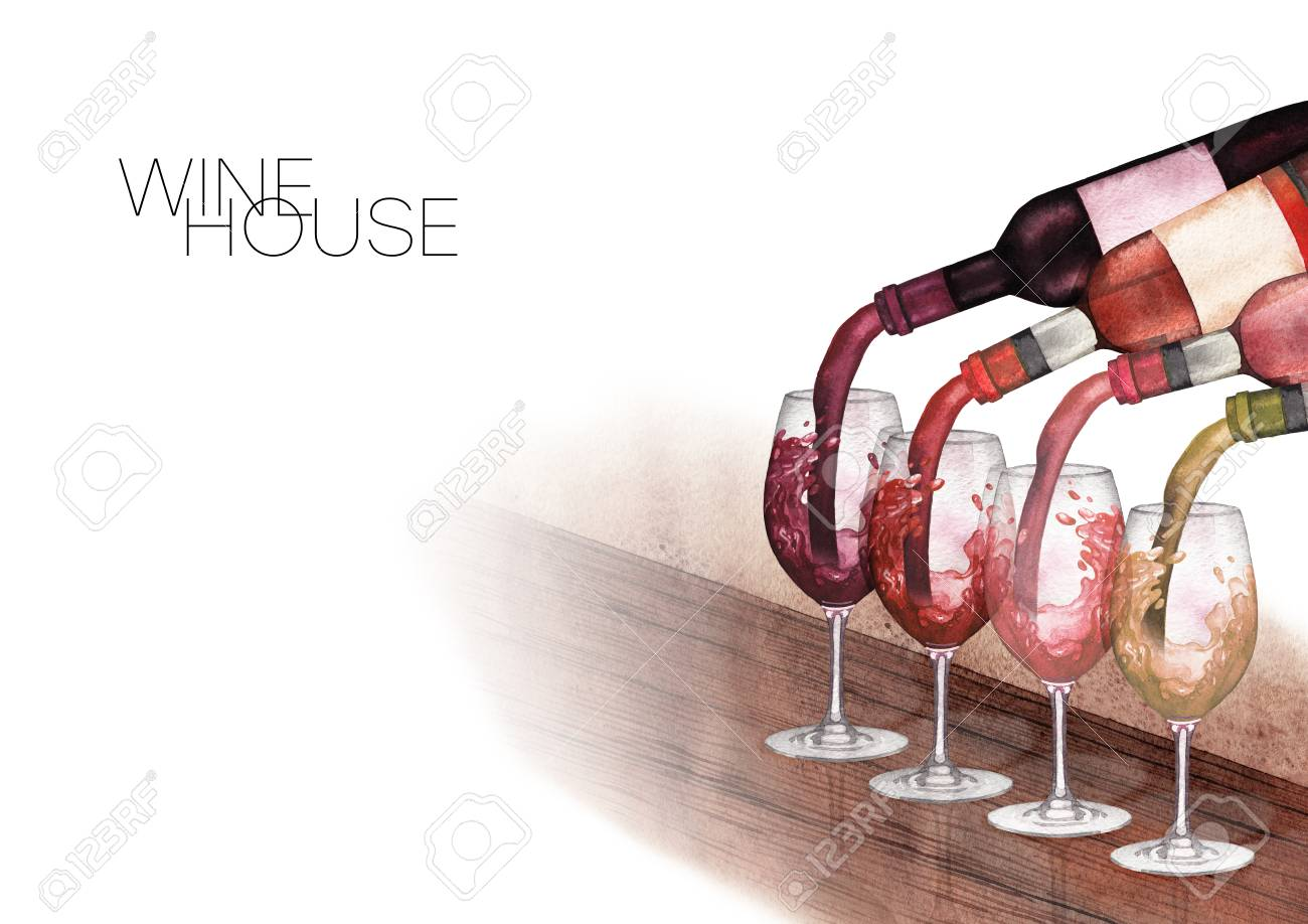 Watercolor Red White And Rose Wines Pouring From Bottles Into Stock Photo Picture Royalty Free Image 108210248